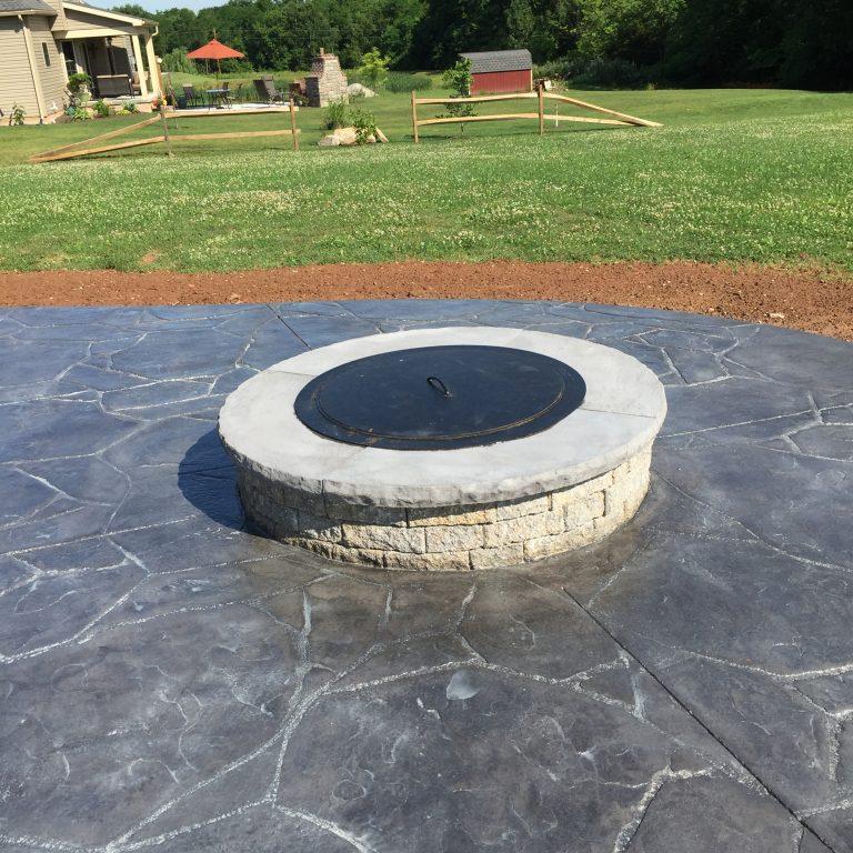 decorative concrete with firepit