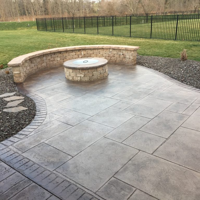 designed concrete with fireplace