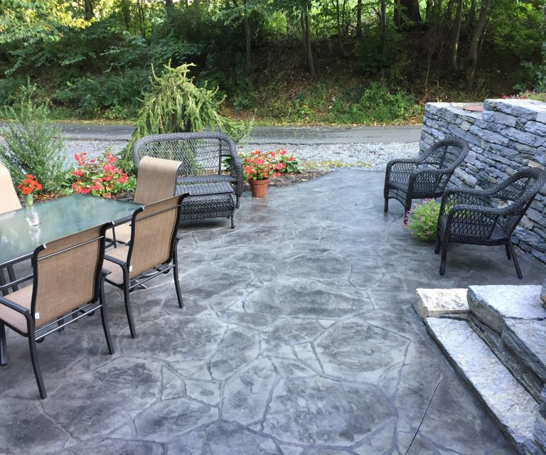 granite patio with outdoor furniture
